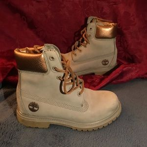 Rose Gold & Gray Women's Timberland Boots